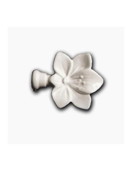 Embout Fleur 19mm Laqué Blanc