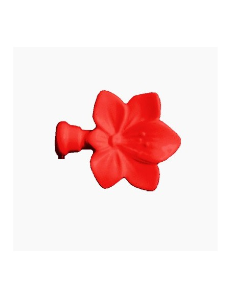 Embout Fleur 19mm Laqué Rouge