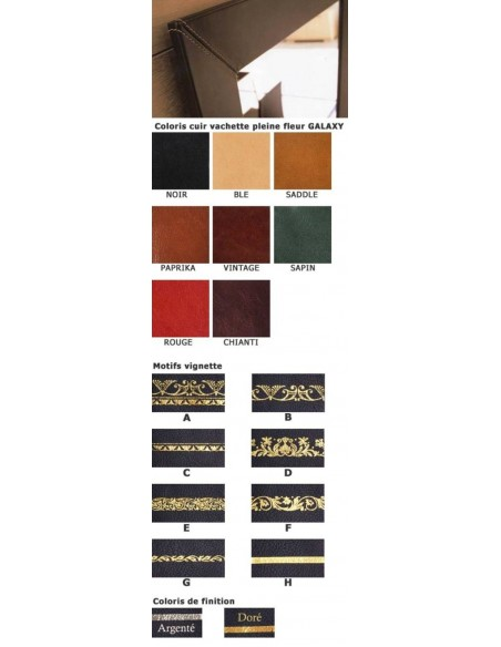 Cuir de BUREAU RECTANGLE finition sur mesure vachette GALAXY cuir à grain fin et dorure