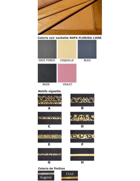 Cuir de BUREAU RECTANGLE finition sur mesure vachette napa FLORIDA cuir à grain moyen et dorure