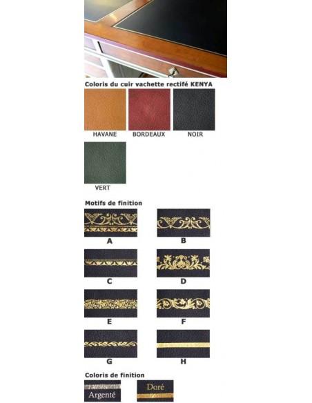 Cuir de BUREAU RECTANGLE finition sur mesure vachette rectifié KENYA cuir à grain gros et dorure