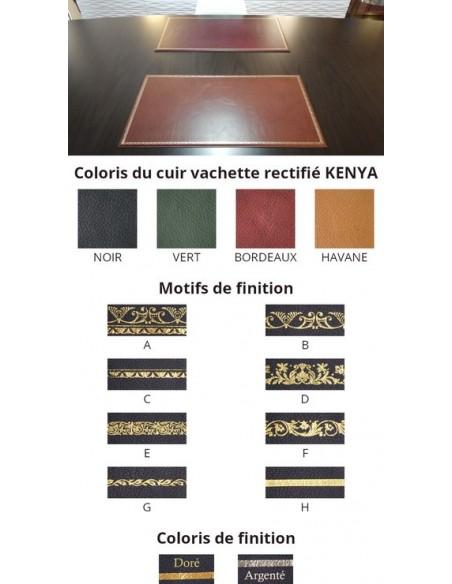 Sous-main cuir de bureau, finition sur mesure vachette rectifié KENYA cuir à grain gros et dorure