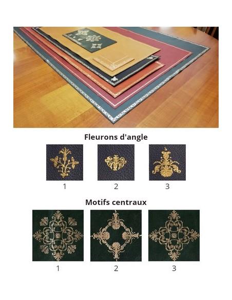 Fleurons d'angle et motifs centraux, décoration pour cuir de bureau